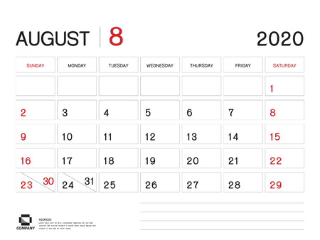 Blank Calendar August 2020.August 2020 Year Template Calendar 2020 Desk Calendar Design