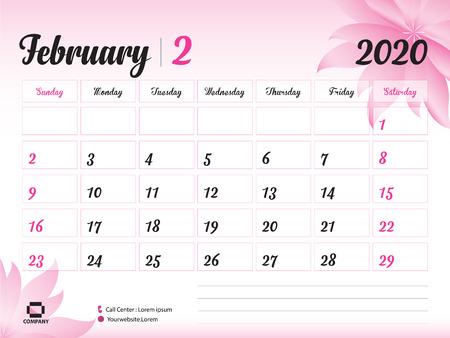 Plantilla de año de febrero de 2020, calendario 2020, diseño de calendario de escritorio, concepto de flor rosa para cosméticos, belleza, spa, negocios; Inicio de semana en domingo, planificador, papelería, impresión, tamaño: 20 x 15 cm.