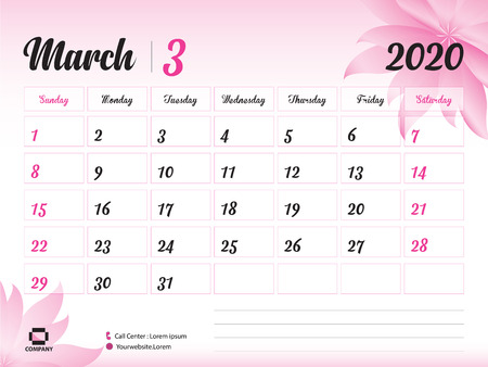 March 2020 Year Template, Calendar 2020, Desk Calendar Design, pink flower concept for cosmetics, beauty, spa, business; Week Start On Sunday, Planner, Stationery, Printing, Size : 8 x 6 inch