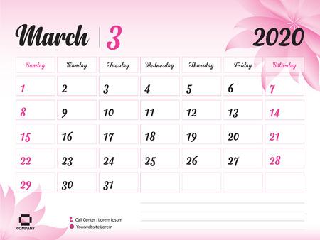 Marzec 2020 rok szablon, kalendarz 2020, projekt kalendarza na biurko, koncepcja różowy kwiat na kosmetyki, uroda, spa, biznes; Początek tygodnia w niedzielę, terminarz, artykuły papiernicze, druk, rozmiar: 8 x 6 cali Ilustracje wektorowe