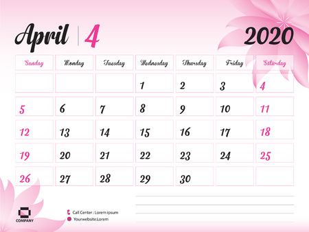 April 2020 Year Template, Calendar 2020, Desk Calendar Design, pink flower concept for cosmetics, beauty, spa, business; Week Start On Sunday, Planner, Stationery, Printing, Size : 8 x 6 inch