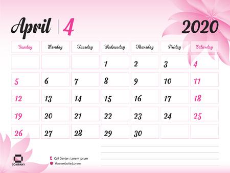 Plantilla de año de abril de 2020, calendario 2020, diseño de calendario de escritorio, concepto de flor rosa para cosméticos, belleza, spa, negocios; Inicio de semana en domingo, planificador, papelería, impresión, tamaño: 20 x 15 cm.