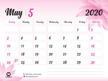 Szablon maja 2020 roku, kalendarz 2020, projekt kalendarza na biurko, koncepcja różowy kwiat dla kosmetyków, urody, spa, biznesu; Początek tygodnia w niedzielę, terminarz, artykuły papiernicze, druk, rozmiar: 8 x 6 cali