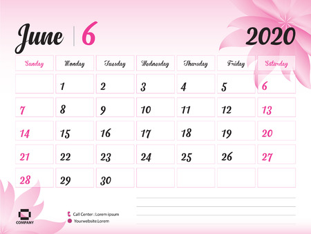 June 2020 Year Template, Calendar 2020, Desk Calendar Design, pink flower concept for cosmetics, beauty, spa, business; Week Start On Sunday, Planner, Stationery, Printing, Size : 8 x 6 inch Ilustração