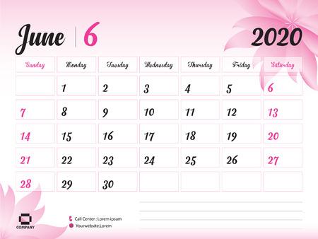 Plantilla de año de junio de 2020, calendario 2020, diseño de calendario de escritorio, concepto de flor rosa para cosméticos, belleza, spa, negocios; Inicio de semana en domingo, planificador, papelería, impresión, tamaño: 20 x 15 cm. Ilustración de vector
