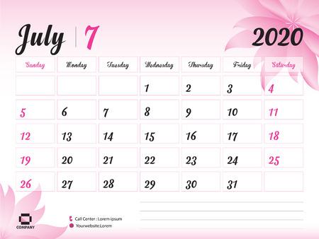Plantilla de año de julio de 2020, calendario 2020, diseño de calendario de escritorio, concepto de flor rosa para cosméticos, belleza, spa, negocios; Inicio de semana en domingo, planificador, papelería, impresión, tamaño: 20 x 15 cm. Ilustración de vector