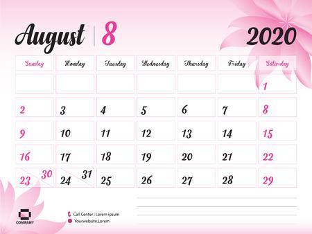 Augustus 2020 jaarsjabloon, kalender 2020, bureaukalenderontwerp, roze bloemconcept voor cosmetica, schoonheid, spa, zaken; Weekstart op zondag, planner, briefpapier, bedrukking, afmeting: 8 x 6 inch