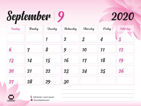 Plantilla de año de septiembre de 2020, calendario 2020, diseño de calendario de escritorio, concepto de flor rosa para cosméticos, belleza, spa, negocios; Inicio de semana en domingo, planificador, papelería, impresión, tamaño: 20 x 15 cm.