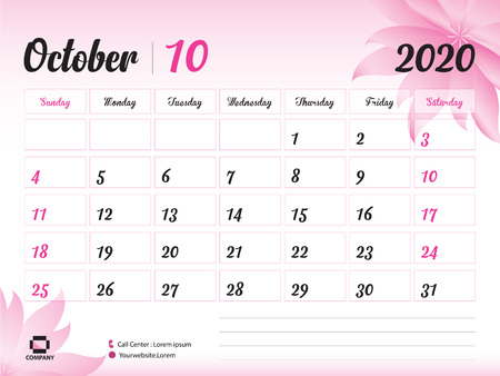 October 2020 Year Template, Calendar 2020, Desk Calendar Design, pink flower concept for cosmetics, beauty, spa, business; Week Start On Sunday, Planner, Stationery, Printing, Size : 8 x 6 inch Standard-Bild - 120693182