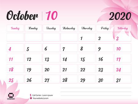 Październik 2020 rok szablon, kalendarz 2020, projekt kalendarza na biurko, koncepcja różowy kwiat dla kosmetyków, urody, spa, biznesu; Początek tygodnia w niedzielę, terminarz, artykuły papiernicze, druk, rozmiar: 8 x 6 cali