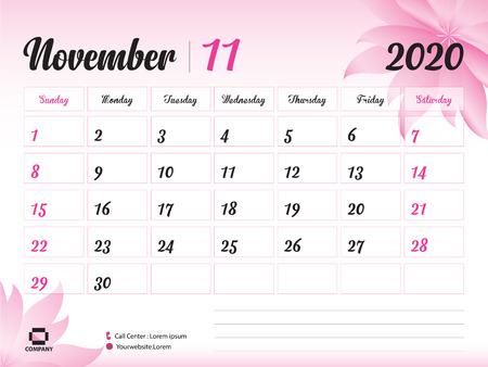 Plantilla de año de noviembre de 2020 Ilustración de vector