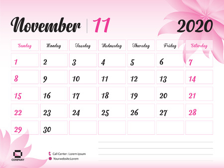 November 2020 Year Template, Calendar 2020, Desk Calendar Design, pink flower concept for cosmetics, beauty, spa, business; Week Start On Sunday, Planner, Stationery, Printing, Size : 8 x 6 inch