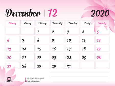 December 2020 Year Template, Calendar 2020, Desk Calendar Design, pink flower concept for cosmetics, beauty, spa, business; Week Start On Sunday, Planner, Stationery, Printing, Size : 8 x 6 inch