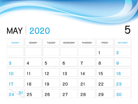 MAY 2020 Year Template, Calendar 2020 Vector, Desk Calendar Design, Week Start On Sunday, Planner, Stationery, Printing, Size : 8 x 6 inch  イラスト・ベクター素材