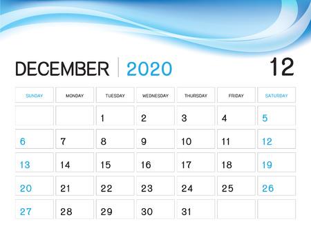 December Calendar 2020.December 2020 Year Template Calendar 2020 Vector Desk Calendar