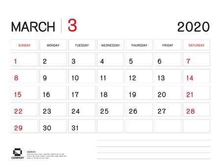 MARCH 2020 Year Template, Calendar 2020 Vector, Desk Calendar Design, Week Start On Sunday, Planner, Stationery, Printing, Size : 8 x 6 inch