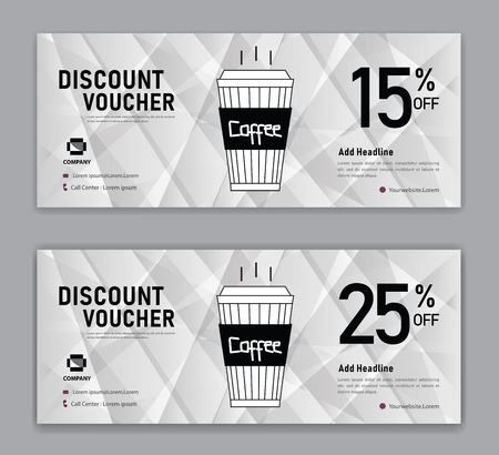 Coffee coupon discount template, Gift voucher, label, banner, advertisement, business vector eps10  イラスト・ベクター素材