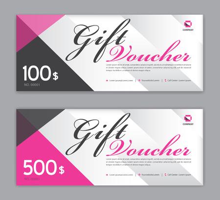 Modello di buono regalo, banner di vendita, design coupon, biglietto, layout orizzontale, carte sconto, intestazioni, sito Web, sfondo rosa, illustrazione vettoriale Eps10