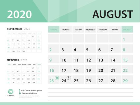 August 2020, Desk Calendar 2020 vector Design, green concept for business; Week Start On Sunday, Planner, Stationery, Printing, Size : 8 x 6 inch Illustration