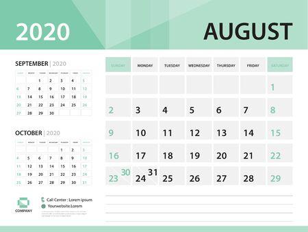 August 2020, Desk Calendar 2020 vector Design, green concept for business; Week Start On Sunday, Planner, Stationery, Printing, Size : 8 x 6 inch Illustration