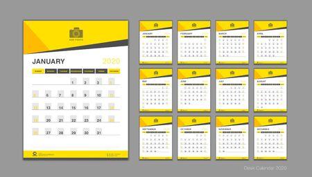 Calendario per il vettore 2020, modello di calendario da tavolo 2020, inizio settimana di domenica, pianificatore, cancelleria, stampa, grafica verticale, sfondo giallo