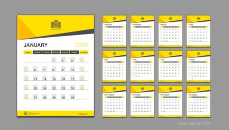 Calendrier pour le vecteur 2020, modèle de calendrier de bureau 2020, début de la semaine le dimanche, planificateur, papeterie, impression, illustration verticale, fond jaune