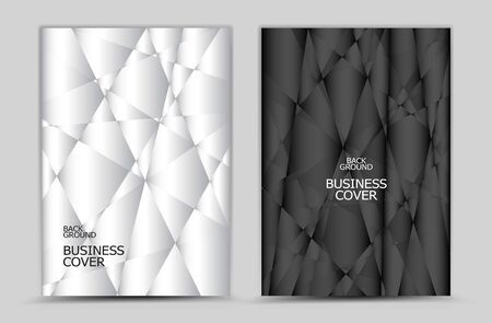 Black and white Polygon background vector, Book, cover design, annual report, business flyer, web texture, graphic design elements  イラスト・ベクター素材