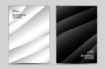 Business cover design, Black and white Polygon background vector, Book cover, annual report, brochure flyer, web texture, graphic design elements  イラスト・ベクター素材