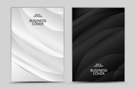 Business cover design, Black and white abstract background vector, Book cover, annual report, brochure flyer, web texture, graphic design template Çizim
