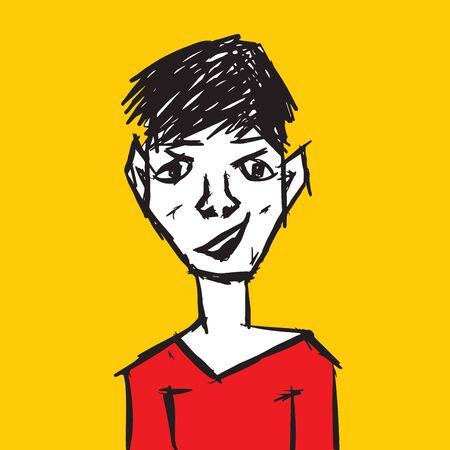 Man character vector design, Boy teen cartoon, isolated object, hand drawn