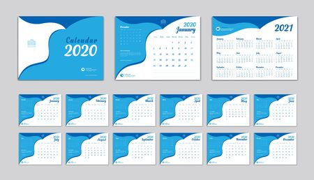 Desk Calendar 2020 Vector template, Calendar 2021 Design, Set of 12 Months, Week Start On Sunday, Planner, Stationery, Printing, advertisement, blue background, creative idea