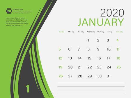 Calendar 2020 design Vector, Desk Calendar 2020 template, January, Green concept, Week Start On Sunday, Planner, Stationery, Printing, Size : 8 x 6 inch