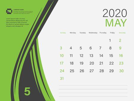 Calendar 2020 design Vector, Desk Calendar 2020 template, MAY, Green concept, Week Start On Sunday, Planner, Stationery, Printing, Size : 8 x 6 inch