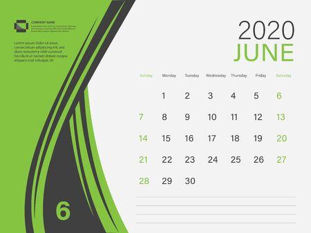 Calendar 2020 design Vector, Desk Calendar 2020 template, JUNE, Green concept, Week Start On Sunday, Planner, Stationery, Printing, Size : 8 x 6 inch