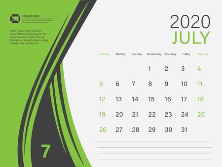Calendar 2020 design Vector, Desk Calendar 2020 template, JULY, Green concept, Week Start On Sunday, Planner, Stationery, Printing, Size : 8 x 6 inch