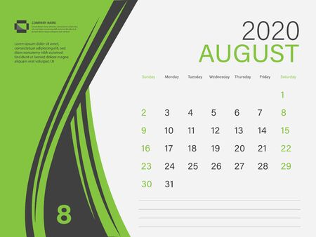 Calendar 2020 design Vector, Desk Calendar 2020 template, AUGUST, Green concept, Week Start On Sunday, Planner, Stationery, Printing, Size : 8 x 6 inch Ilustracja