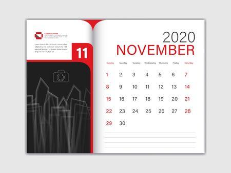 Calendar 2020 design Vector, Desk Calendar 2020 template, NOVEMBER, red concept, Week Start On Sunday, Planner, Stationery, Printing, Size : 8 x 6 inch Ilustracja