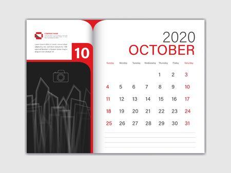 Calendar 2020 design Vector, Desk Calendar 2020 template, OCTOBER, red concept, Week Start On Sunday, Planner, Stationery, Printing, Size : 8 x 6 inch Ilustracja