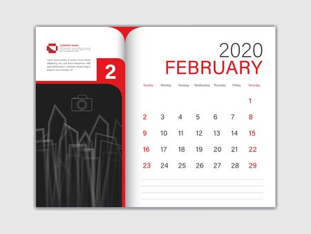Calendar 2020 design Vector, Desk Calendar 2020 template, FEBRUARY, red concept, Week Start On Sunday, Planner, Stationery, Printing, Size : 8 x 6 inch  イラスト・ベクター素材