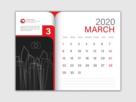 Calendar 2020 design Vector, Desk Calendar 2020 template, MARCH, red concept, Week Start On Sunday, Planner, Stationery, Printing, Size : 8 x 6 inch Ilustracja