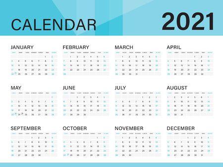 Calendar template for  2021 year, Poster, Wall Desk Calendar Design, simple calendar, Week Start On Sunday, Planner, Stationery, Printing, vertical artwork Ilustracja