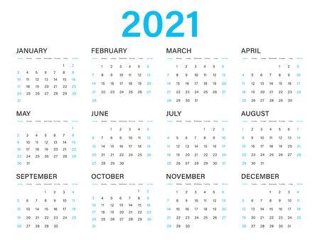Calendar 2021 vector template, simple minimal design, Yearly calendar organizer for weeks