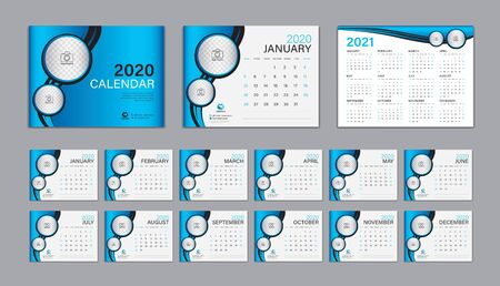 Desk Calendar 2020 template Vector, Calendar 2021 Design, Week Start On Sunday, Planner, Stationery, Printing, advertisement, Cover template, Blue background Ilustracja