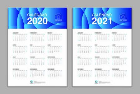 Calendar template for 2020, 2021 year, Poster, Wall Desk Calendar Design, simple calendar, Week Start On Sunday, Planner, Stationery, Printing, vertical artwork Ilustracja