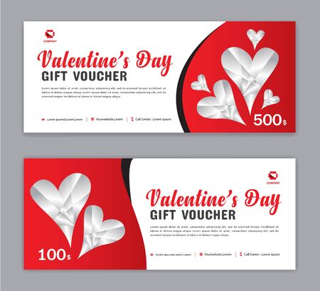 Valentine's Day Gift Voucher template, Coupon, discount, Sale banner, Horizontal  layout, discount cards, headers, website, red background, vector illustration EPS10 Ilustracja
