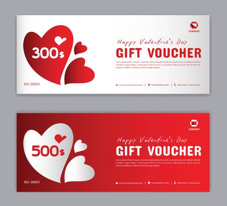 Modèle de bon cadeau, coupon, remise, pour Happy Valentine Day, bannière de vente, disposition horizontale, cartes de réduction, en-têtes, site Web, fond rouge, illustration vectorielle EPS10 Vecteurs
