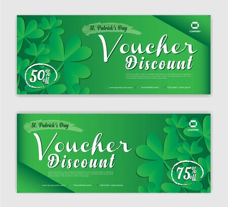 Discount voucher vector, Gift Voucher template, Coupon, discount card for St. Patrick Day, Sale banner, headers, website, Green background