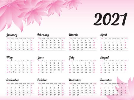 Calendar 2021 vector template, simple minimal design, Yearly calendar organizer for weeks, Week starts on Monday, Set of 12 calendar, Pink Flower background concept.