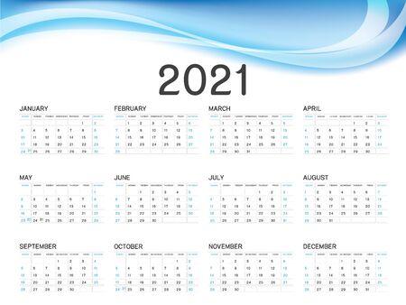 Calendar 2021 vector template, simple minimal design, Yearly calendar organizer for weeks, Week starts on Monday, Set of 12 calendar, Blue wave background concept. Ilustracja