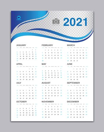 Calendar 2021 Template, Wall Calendar 2021 Vector, Desk Calendar Design, Week Start On Sunday, Poster, Planner, Stationery, Printing, vertical artwork, Blue wave background concept Ilustracja